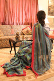 Checkered Pure Linen Handloom Saree