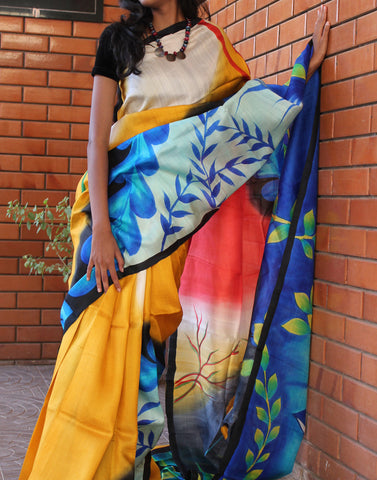 Multicoloured Handpainted Bishnupuri Silk Saree