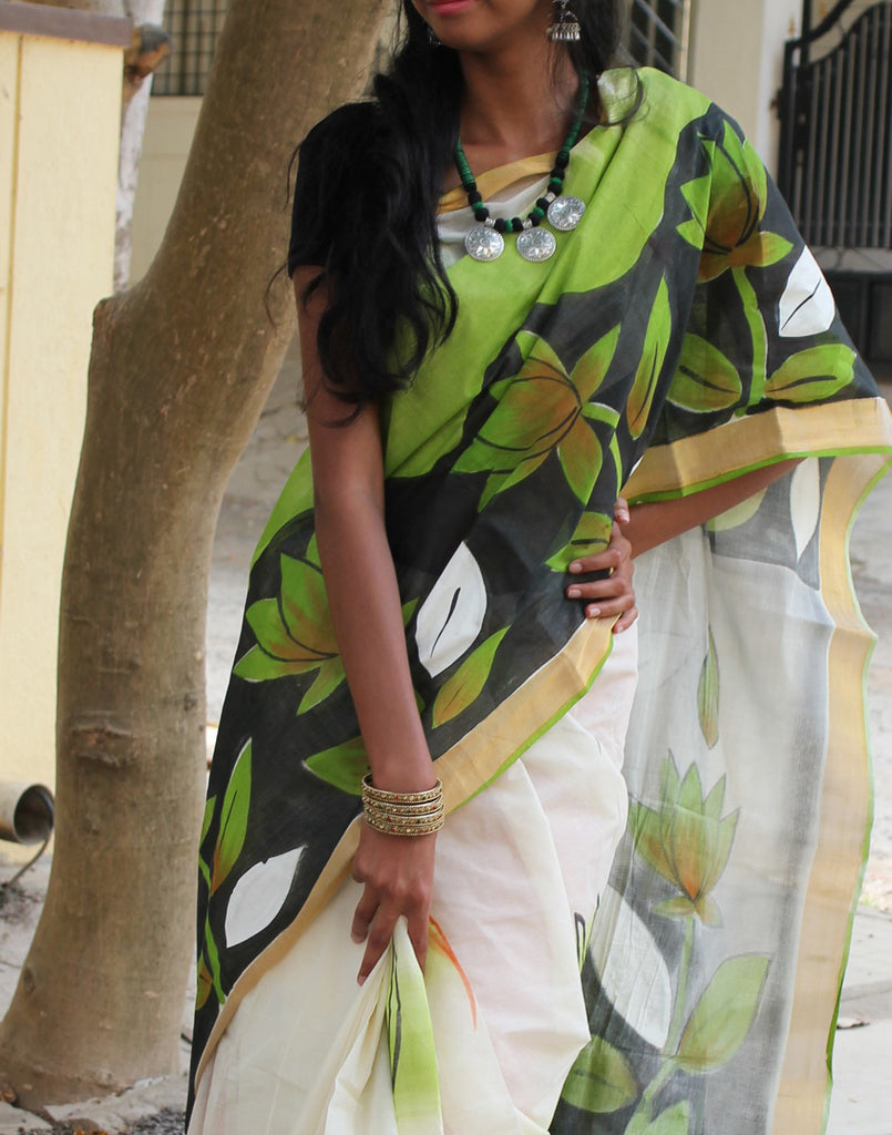 Kerala Kasavu  Handpainted Cotton Saree