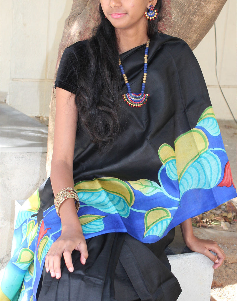 Black  Handpainted Bishnupuri Silk Saree