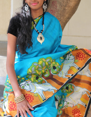 Animal Handpainted Bishnupuri Silk Saree