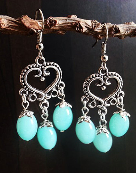 Heart Blue Beads Jumka