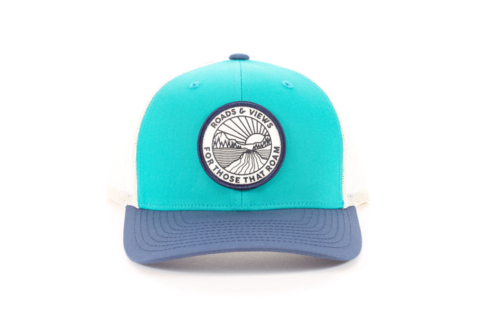 Sunrise Trucker - Teal/Navy - Roads & Views