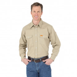 Wrangler® FR Flame Resistant Long Sleeve Twill Solid Shirt - Workmans Industrial Wear, Fire Retardant Clothing, New and Used Clothing