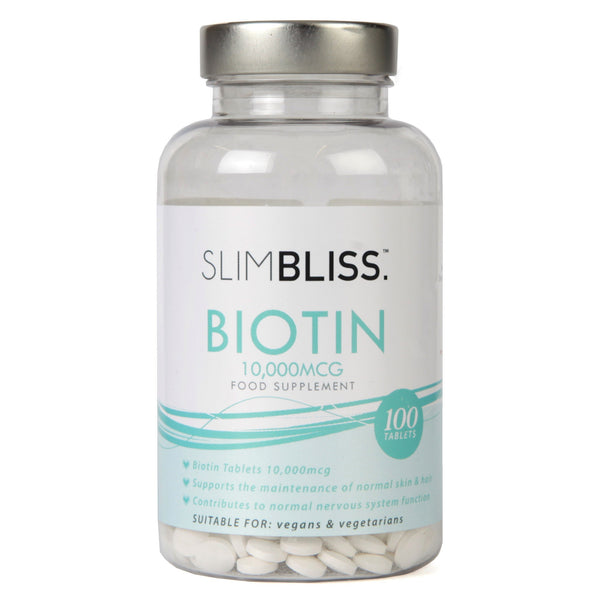 SLIMBLISS Biotin 10,000mcg hair and nail growth tablets | Double Strength Vitamin B7 | Alternative to Castor oil for nails and hair growth | Alternative to perfectil viviscal regaine for women