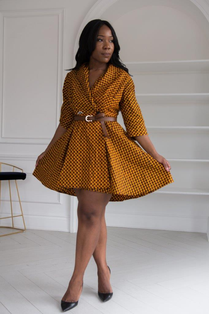 Brown teardrop wrap dress