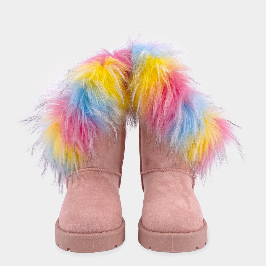 FREEZE BOTAS DE GAMUZA COLOR BLUSH CON PELUCHE DE COLORES