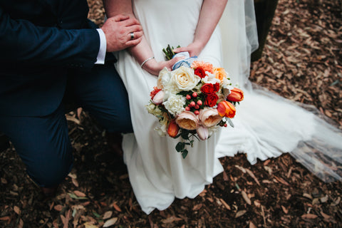 Apricot bridal bouquet. Sydney wedding florist.