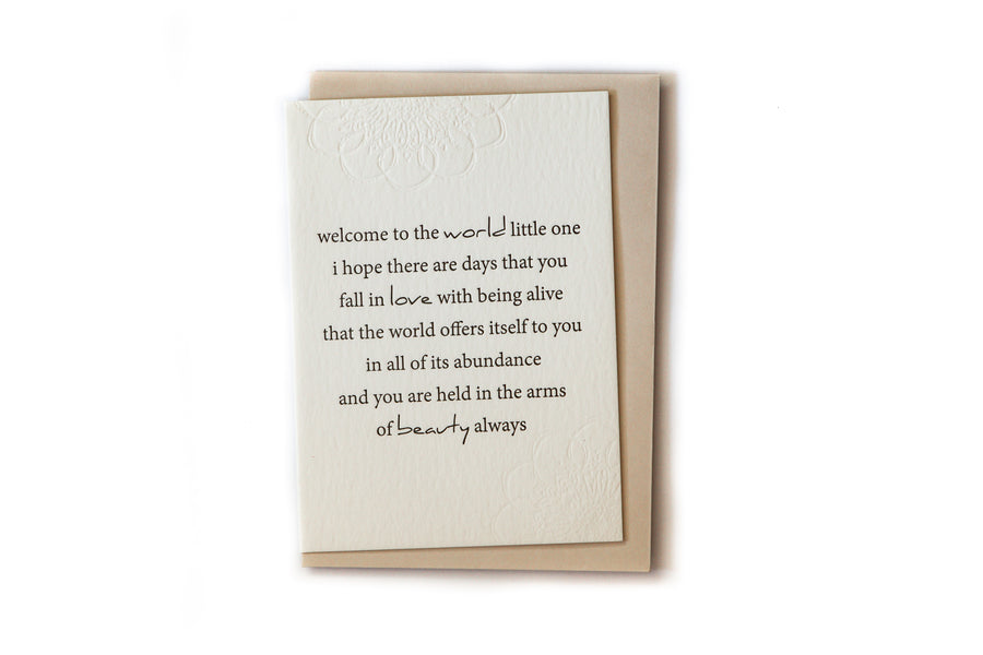 Gift Card - Letterpress - Welcome New Baby