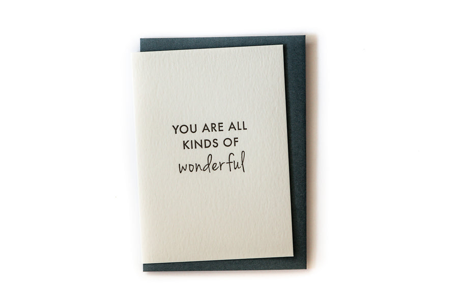 Gift Card - Letterpress - You are all Kinds of Wonderful