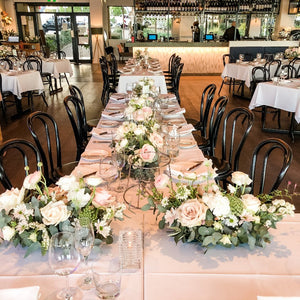 Wedding Reception Guest Tables - Long and Low Arrangement