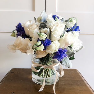 Posy - Blue and White Posy in a Vase - Premium
