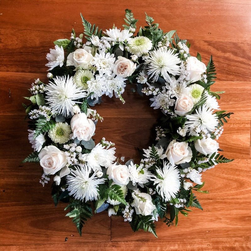 Funeral flowers - Wreath - Our Thoughts and Prayers