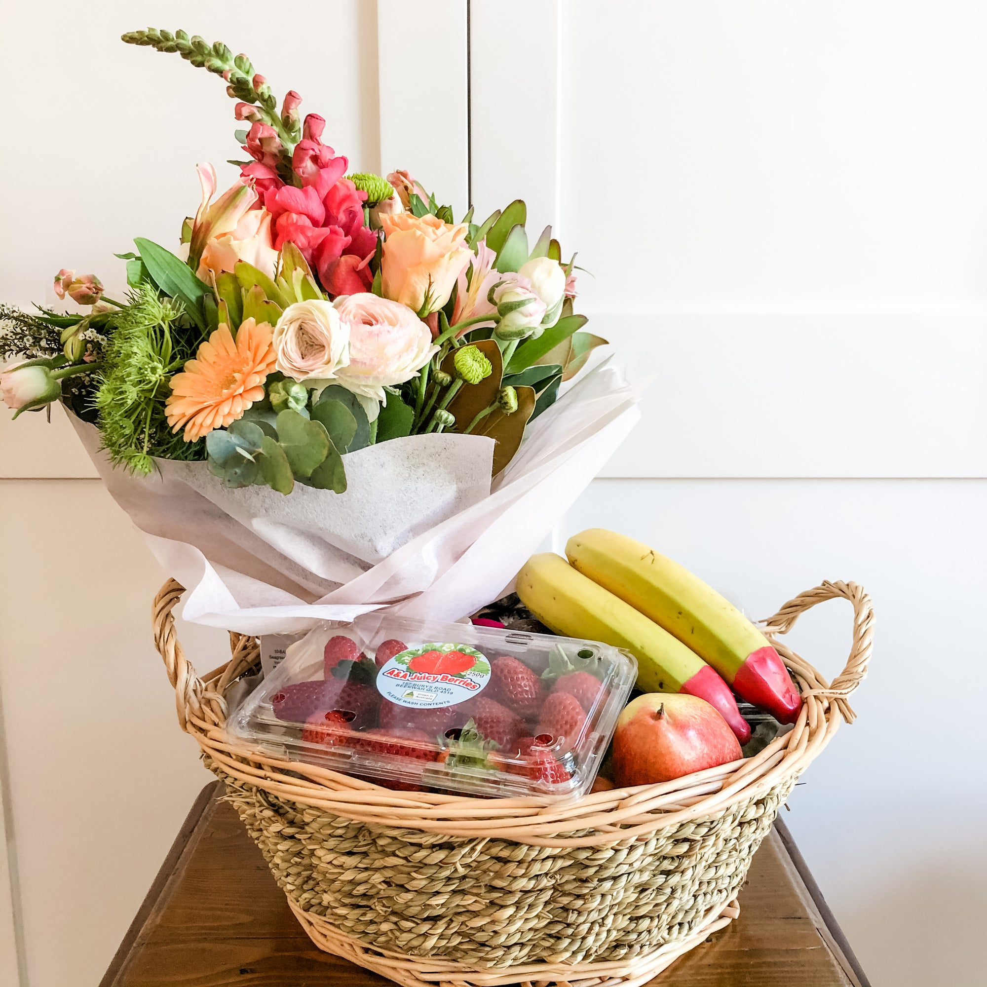 Fruit Basket and Flower Posy