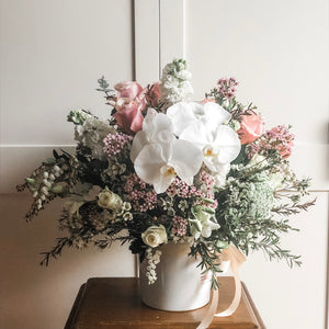 Pastel Country Garden Arrangement in a Ceramic Pot