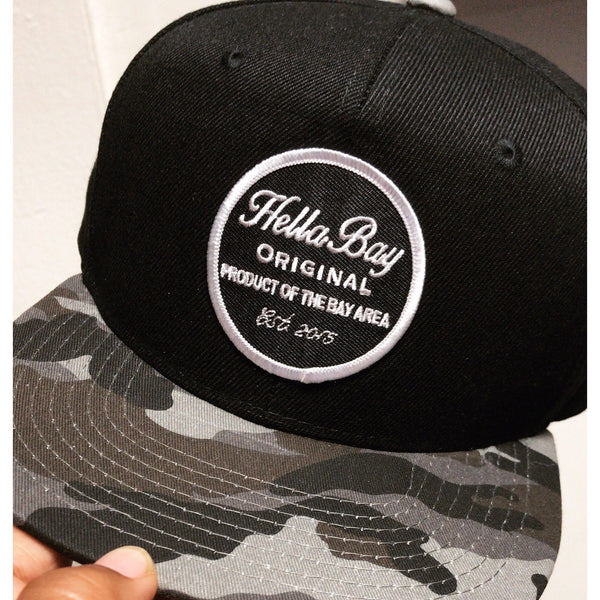 Black Camo Snapback Hat Hella Bay Clothing