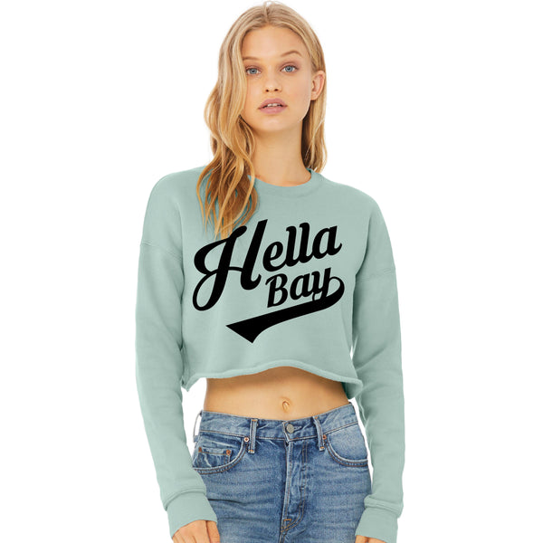 Dusty Blue Crop Sweatshirt Shirts Hella Bay Clothing Small