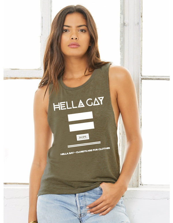 Hella Gay Muscle Tee Hella Bay Clothing Small Heather Olive