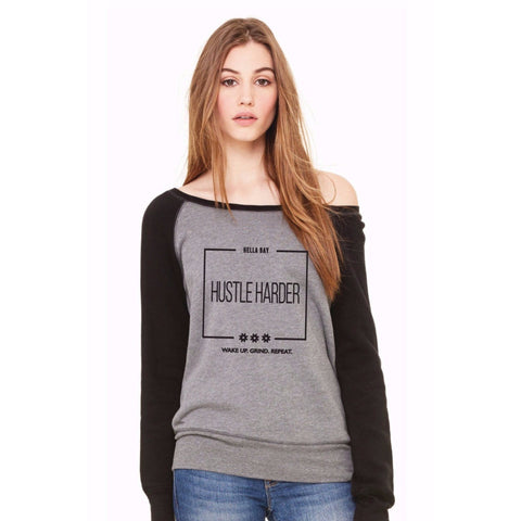 Hustle Harder Open Shoulder Sweatshirt