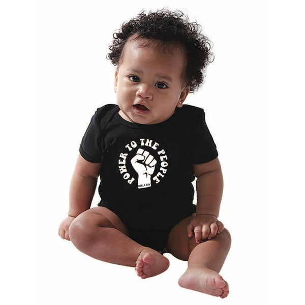 Power to the People Onesie Kids Hella Bay Clothing 6 Black