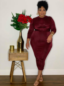 Snatched Bodied Dress Burgundy