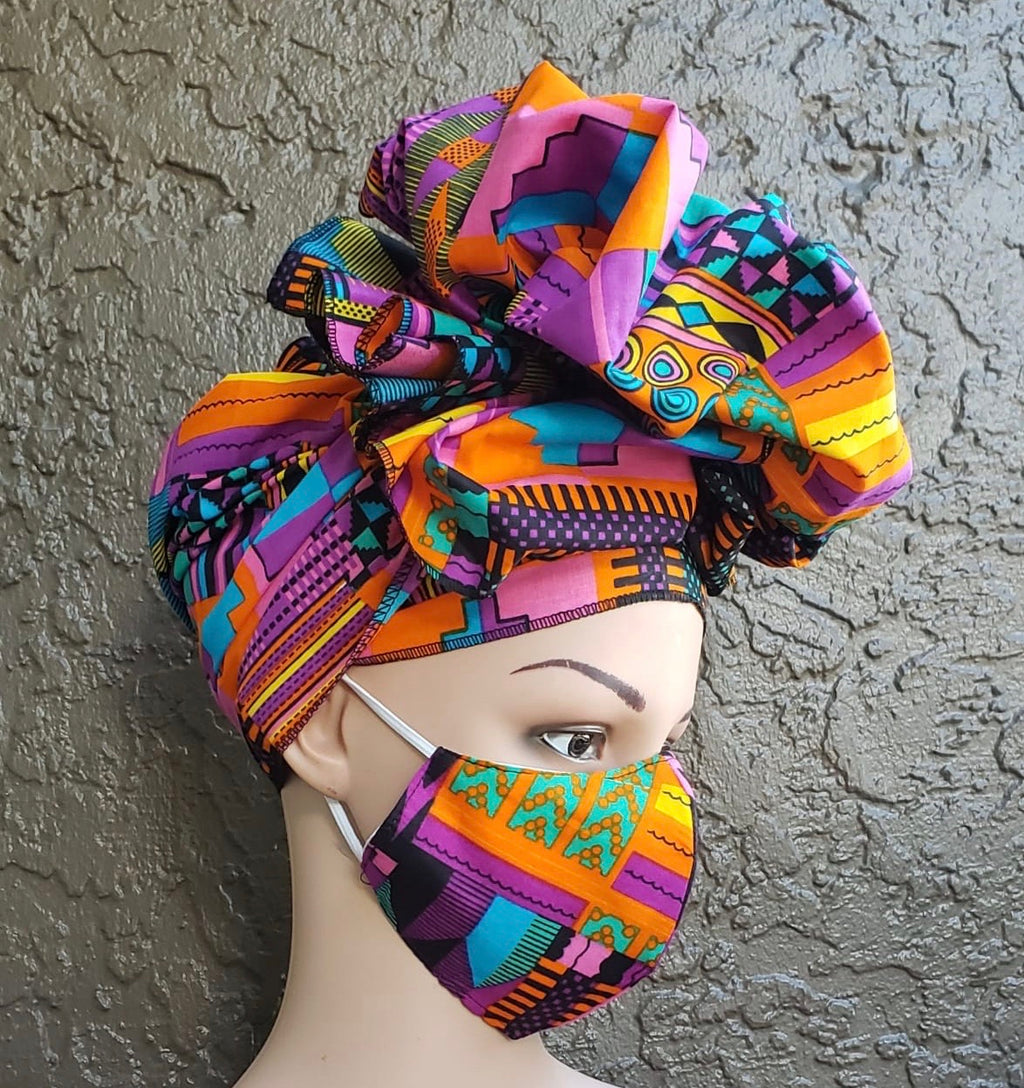 Fashion African Print Mask and Full Headwrap Pink