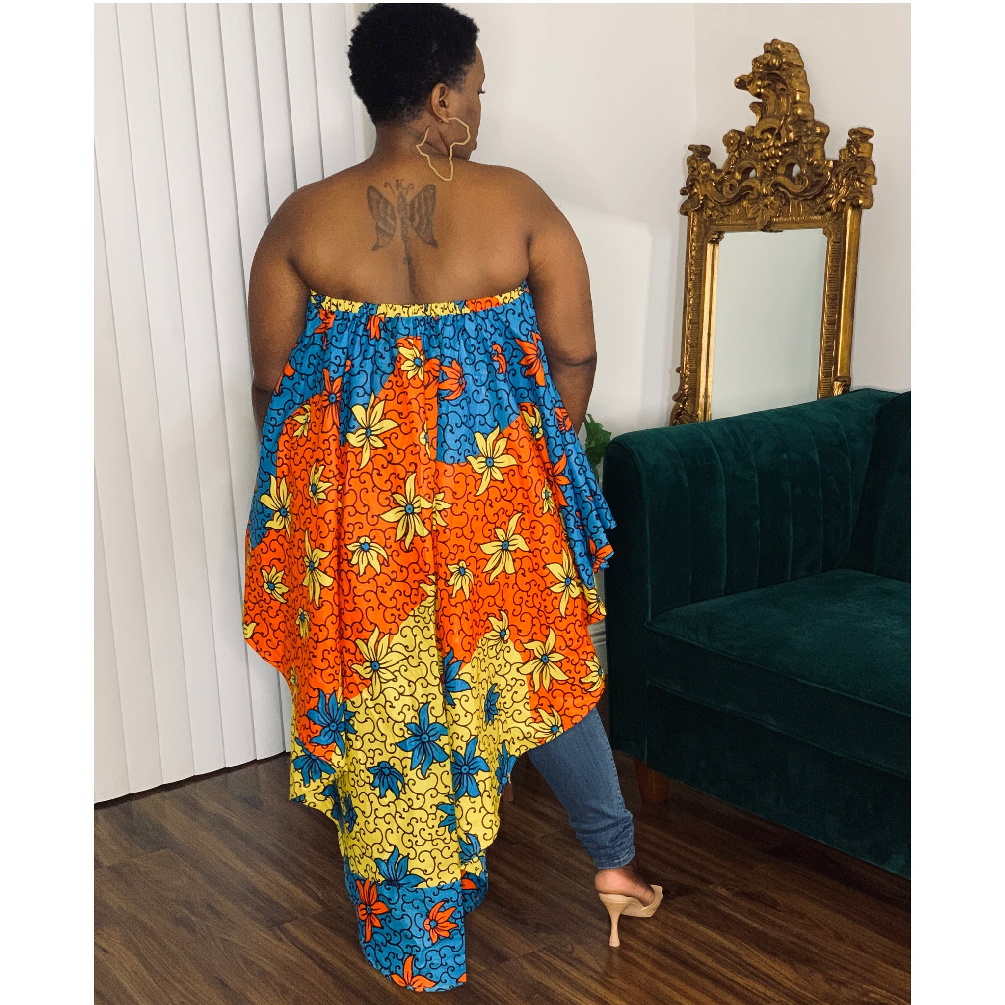 Dream African Print Blouse Blue Orange