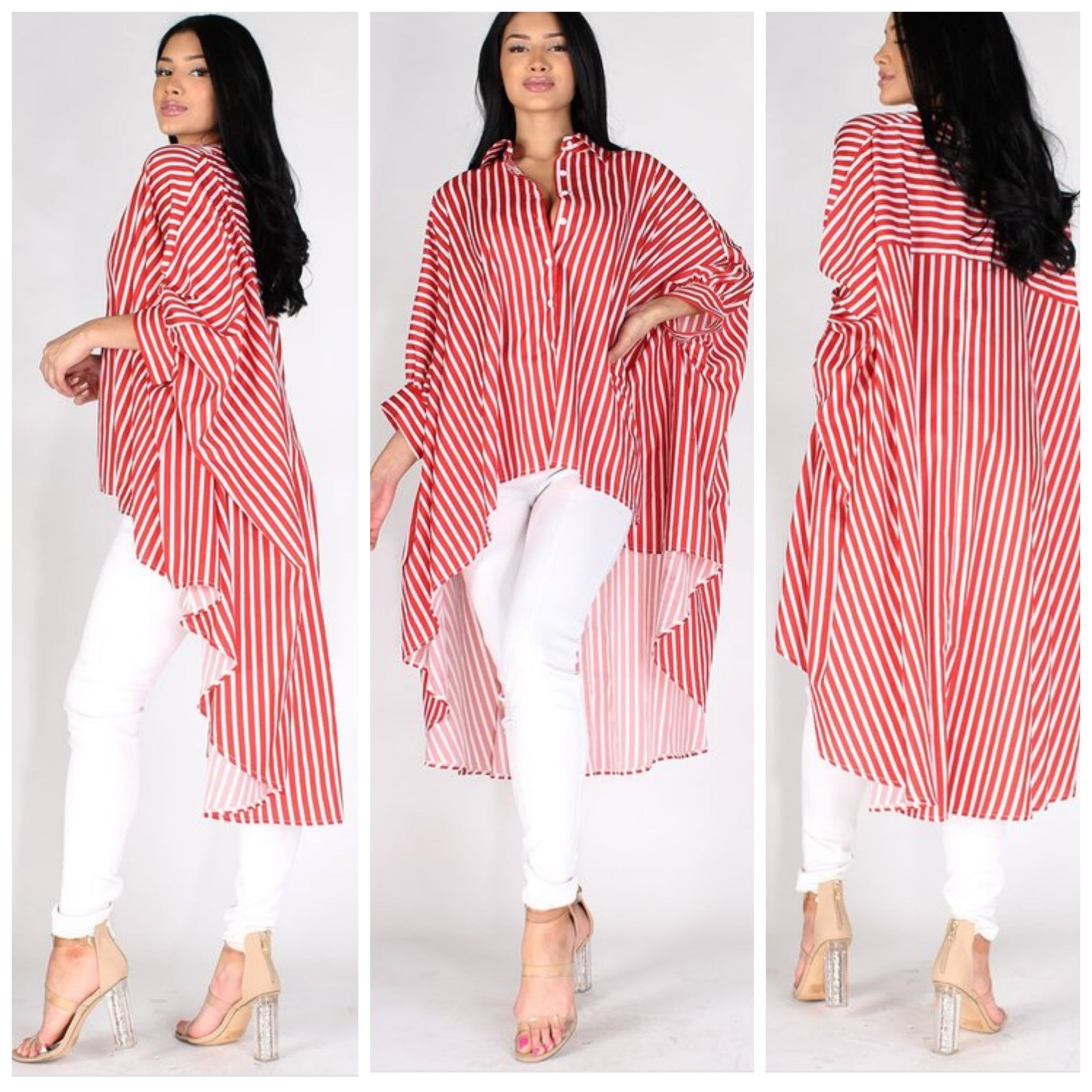 Red Statement Oversized Blouse