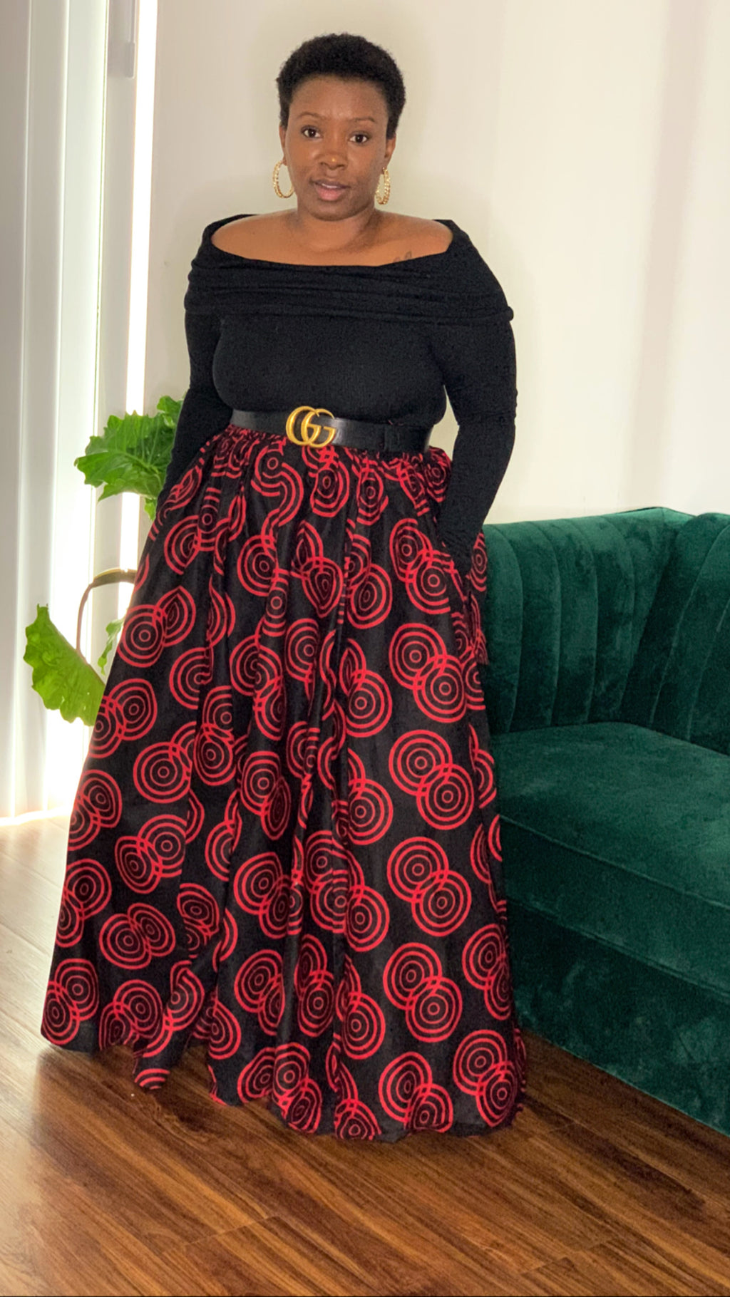 Amaze African Maxi Skirt Red