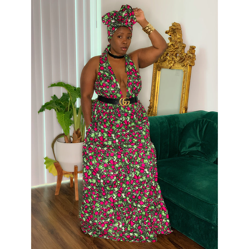 Royalty Maxi Dress Pink Green Black
