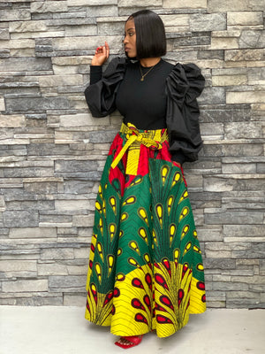 Yellow Red Green  African Print  Skirt