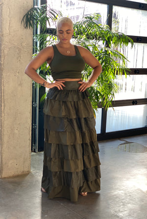 Layered Olive Faux Leather Skirt