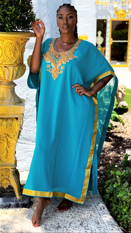 Chiffon Jewel Maxi Dress Turquoise