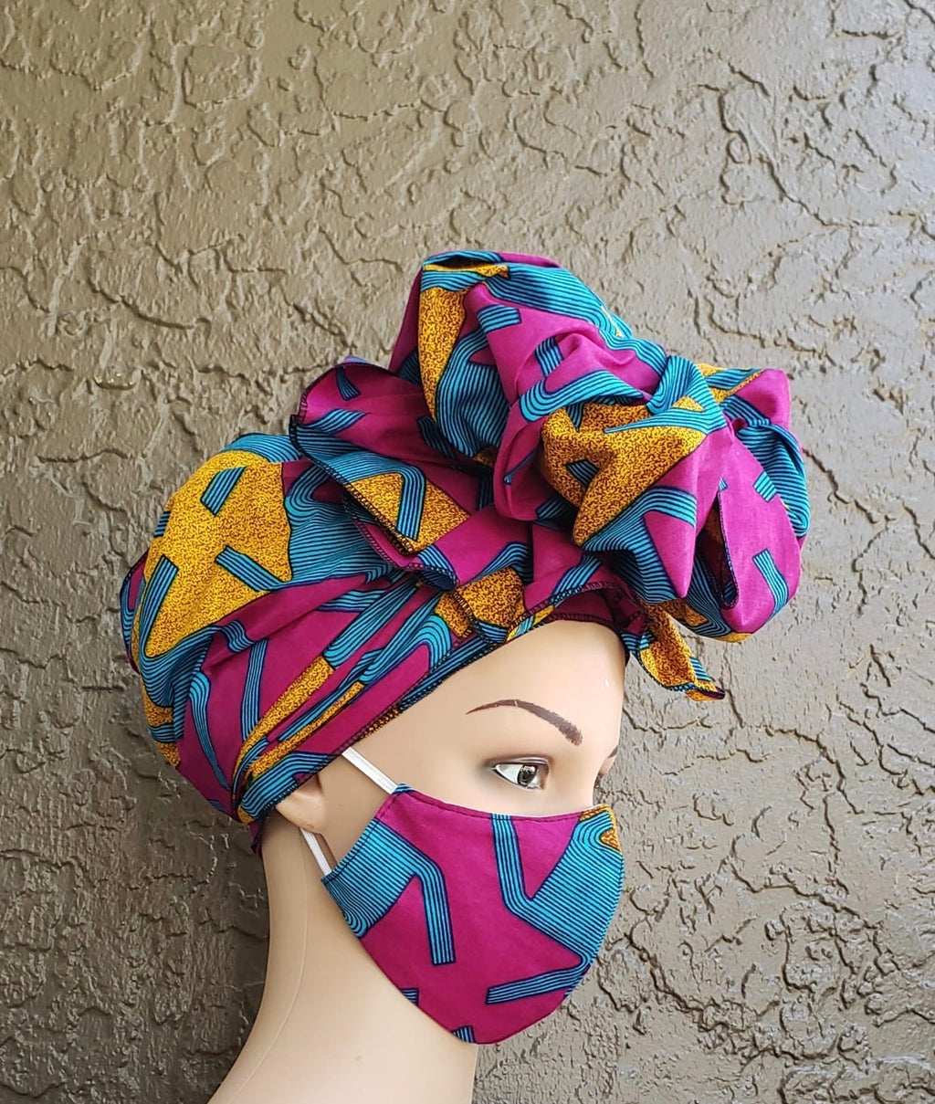 Fashion African Print Mask and Full Headwrap Purple Blue