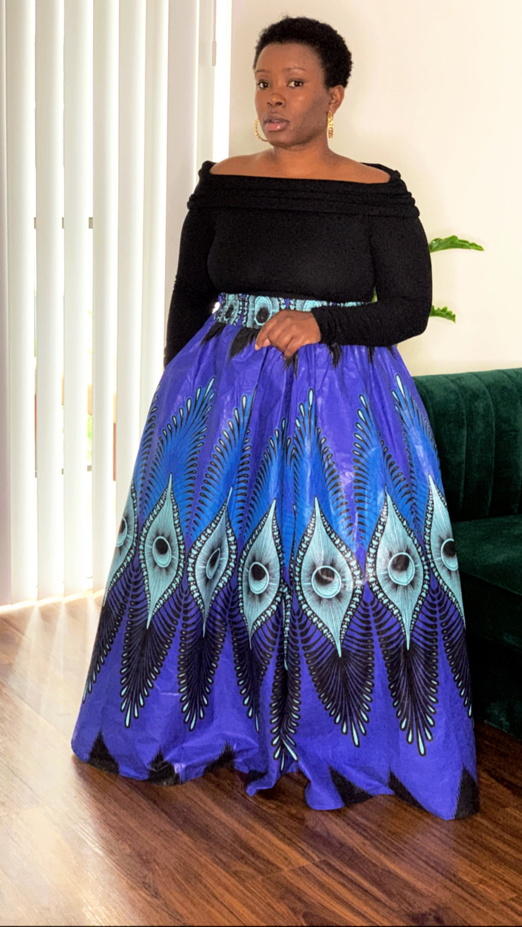 Blue Ray African Maxi Skirt