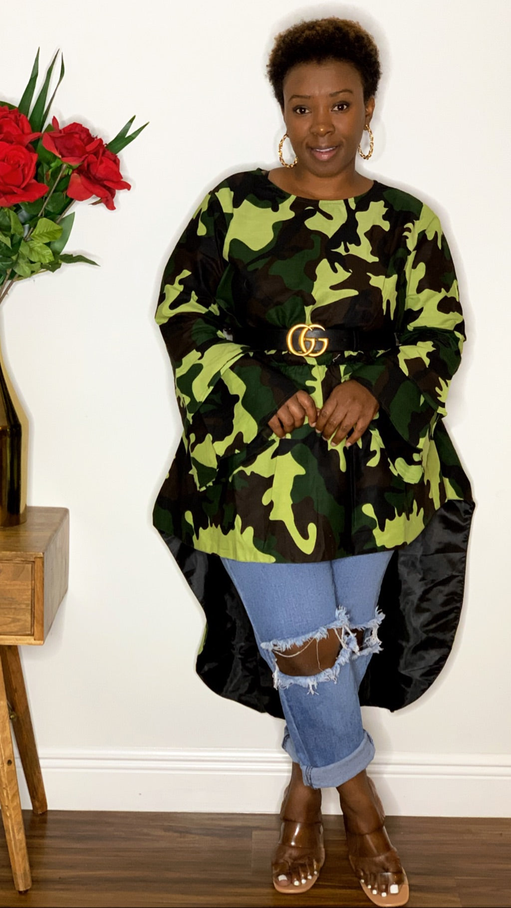 Camo High Low Blouse