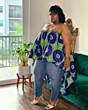 Dream African Print Blouse Blue Green