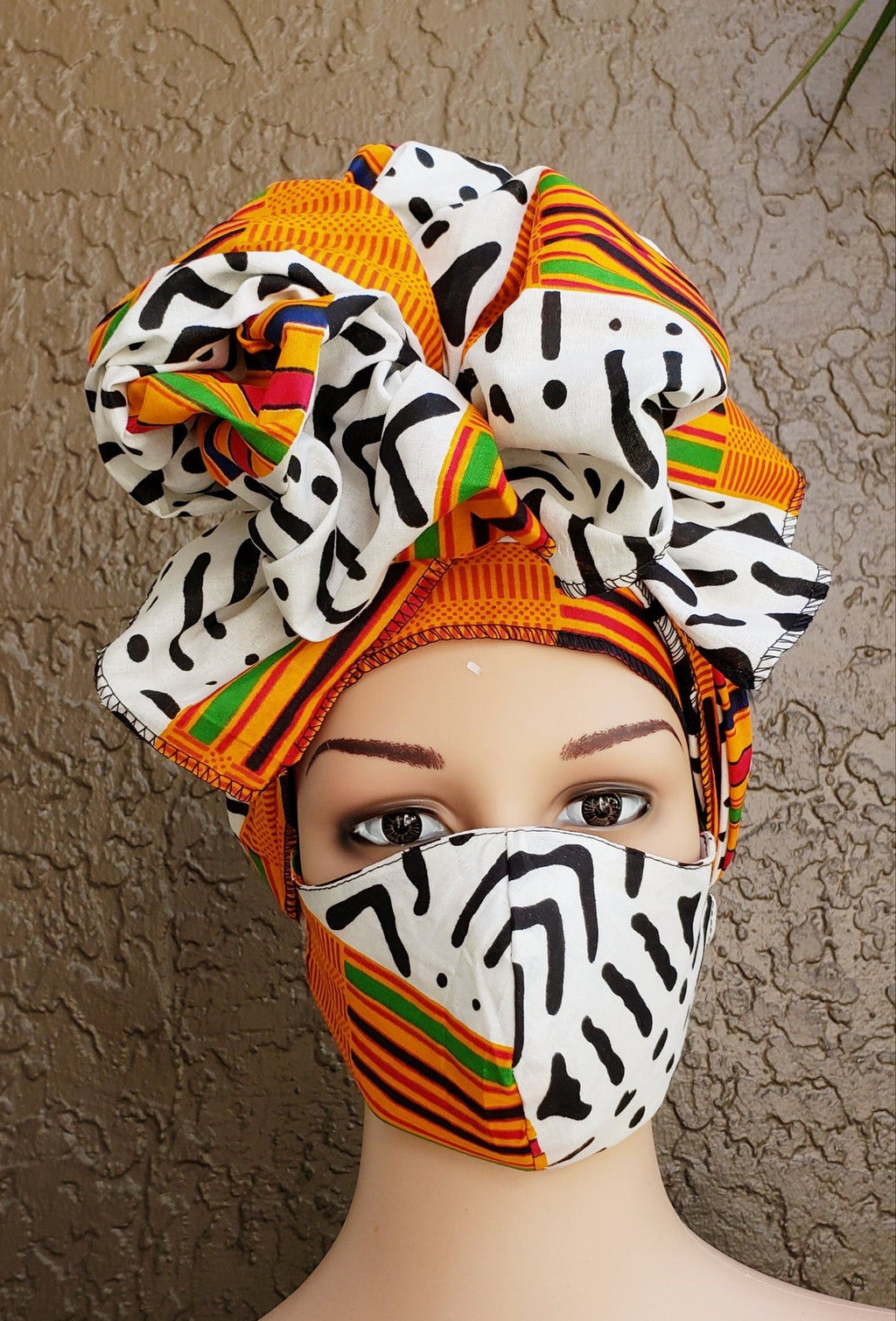 African Print Mask and Full Headwrap Black White