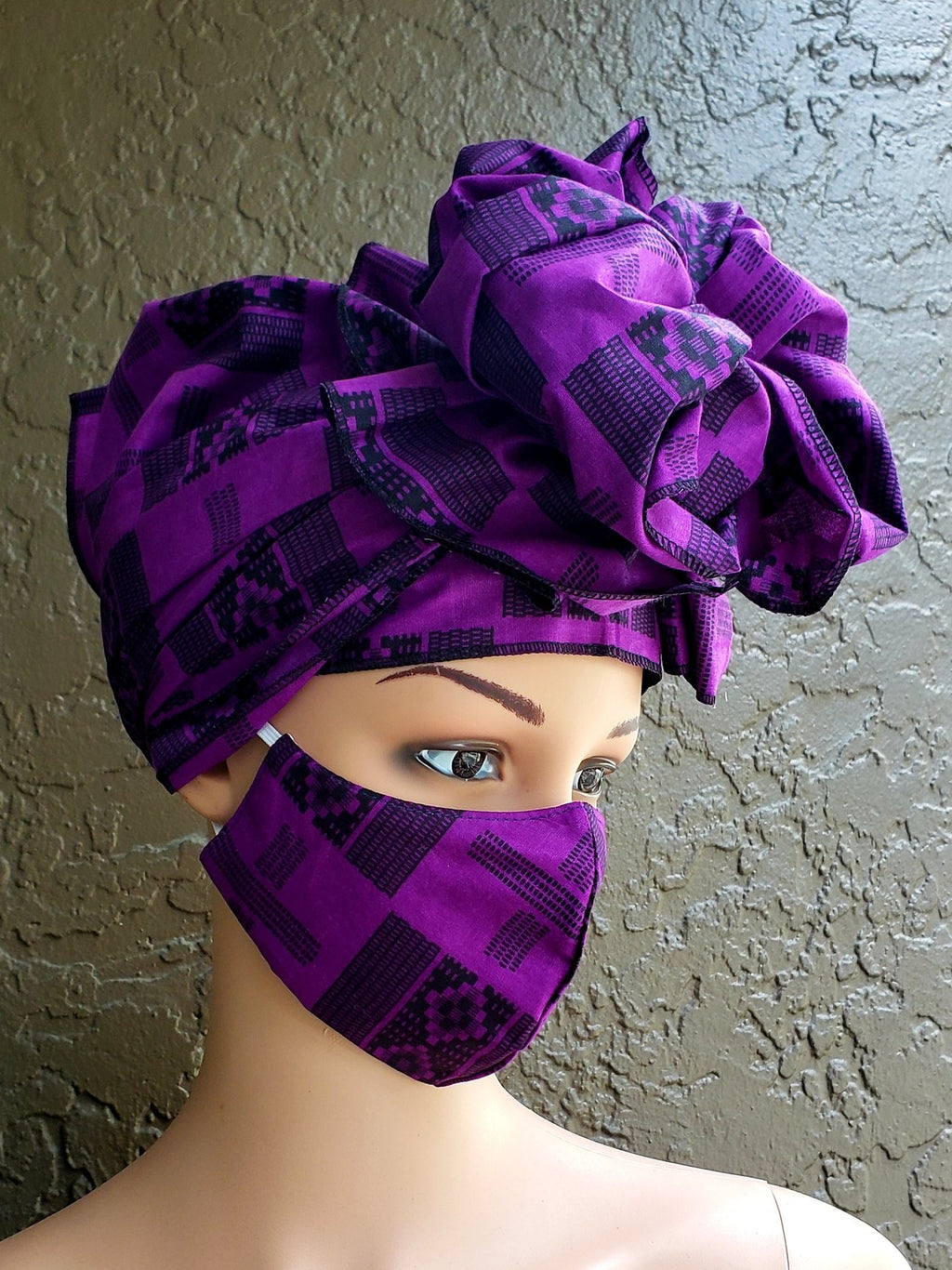 Fashion African Print Mask and Full Headwrap Purple
