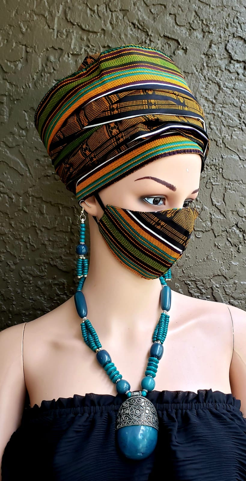 Fashion African Print Mask and Full Headwrap Brown