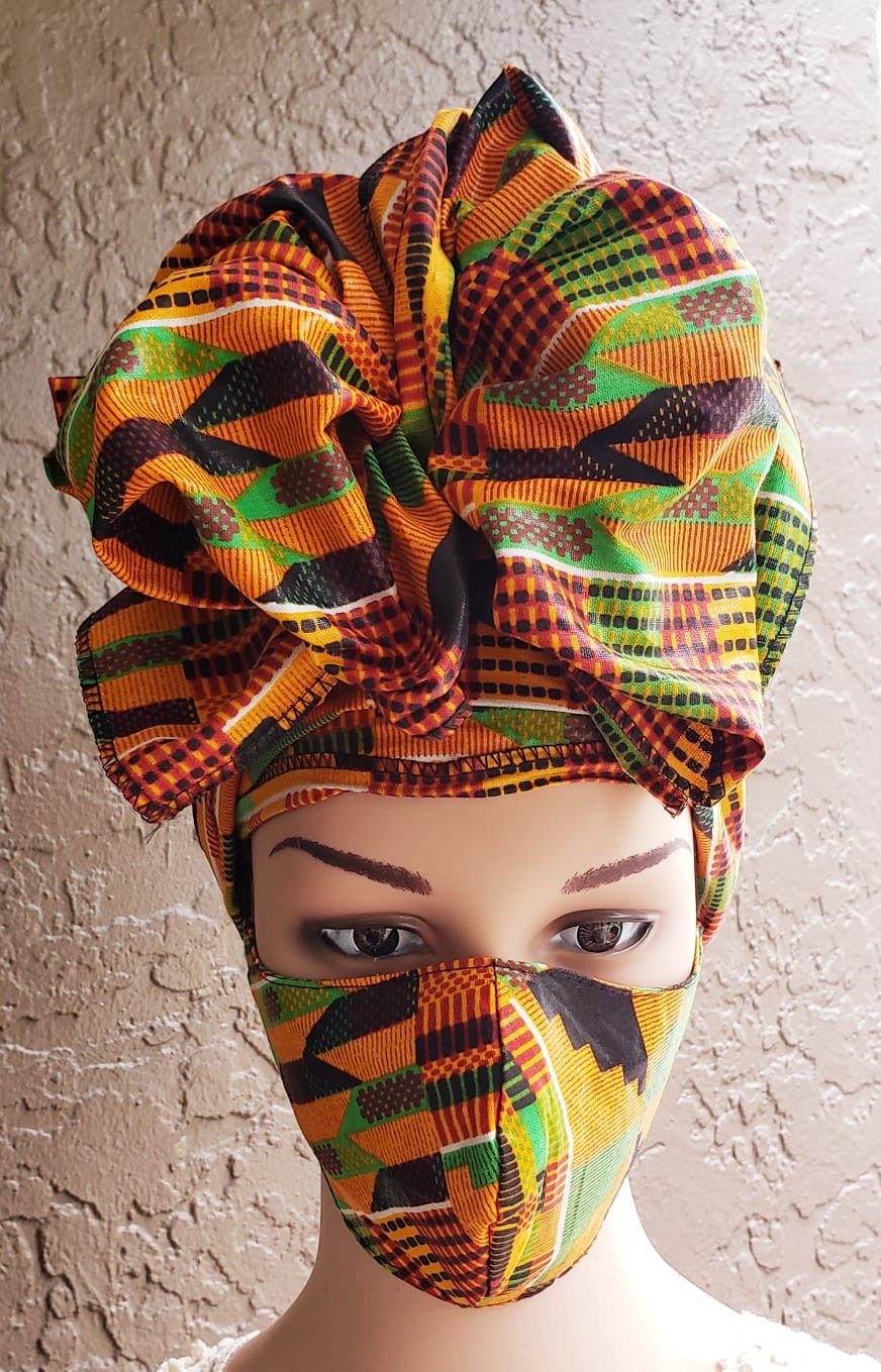 Fashion African Print Mask and Full Headwrap Kente