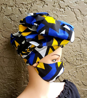 Fashion African Print Mask and Full Headwrap Blue Yellow Black
