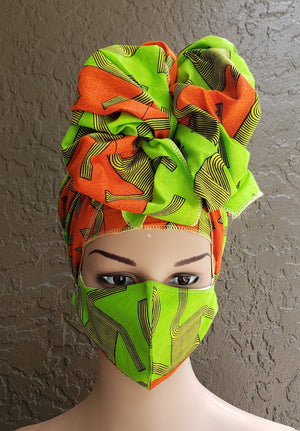 Fashion African Print Mask and Full Headwrap Neon