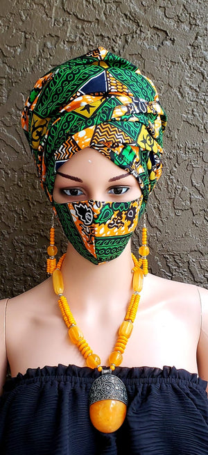 Fashion African Print Mask and Full Headwrap Green Blue
