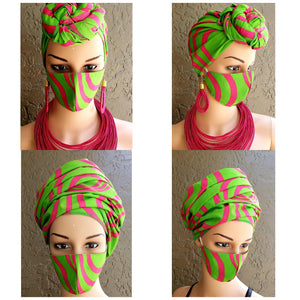 African Print Mask and Full Headwrap Green Pink