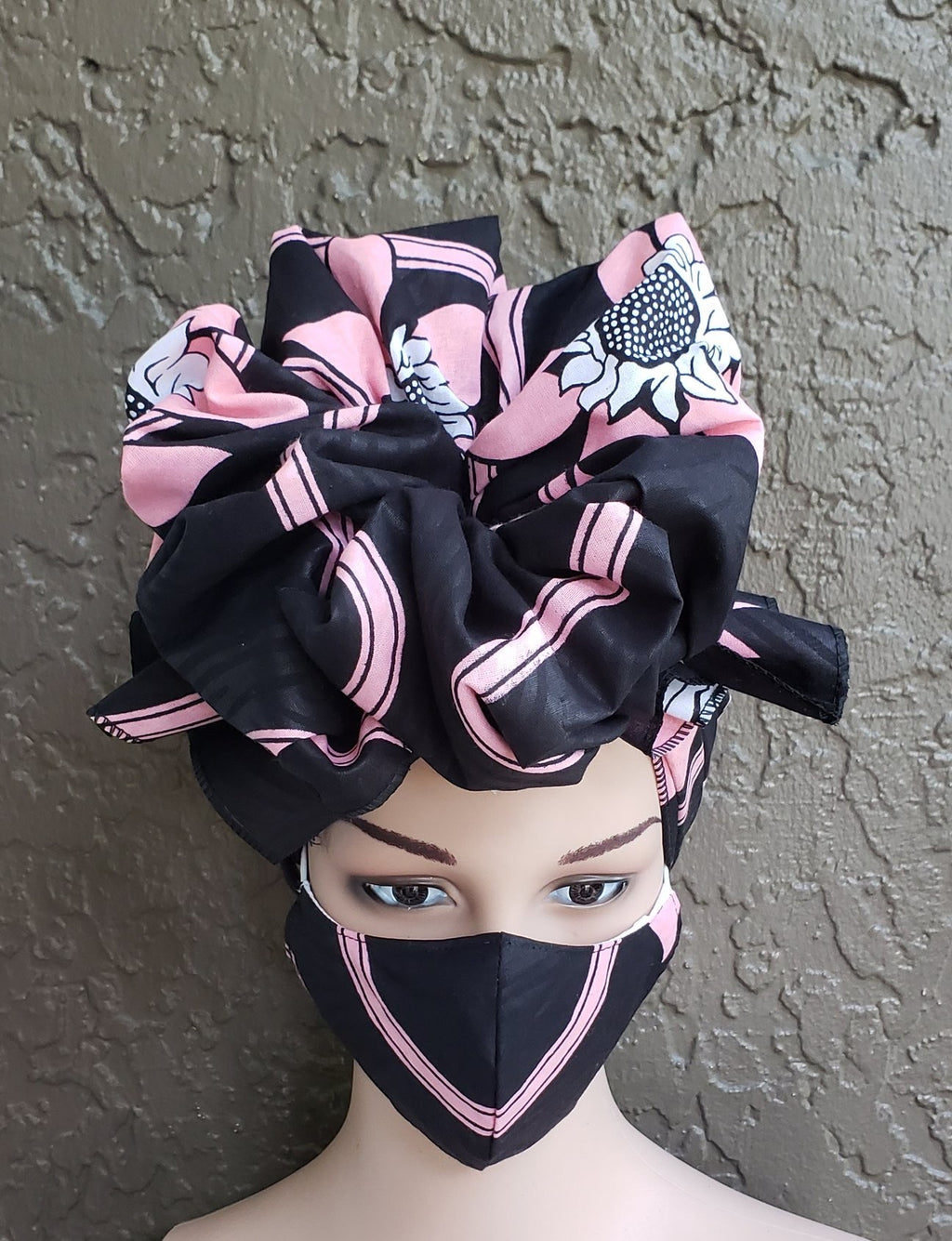 Fashion African Print Mask and Full Headwrap Pink Black