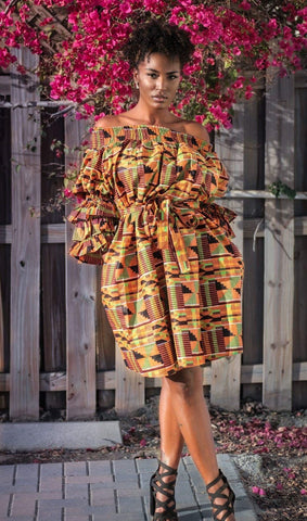 Kente One Size Off Shoulder Dress