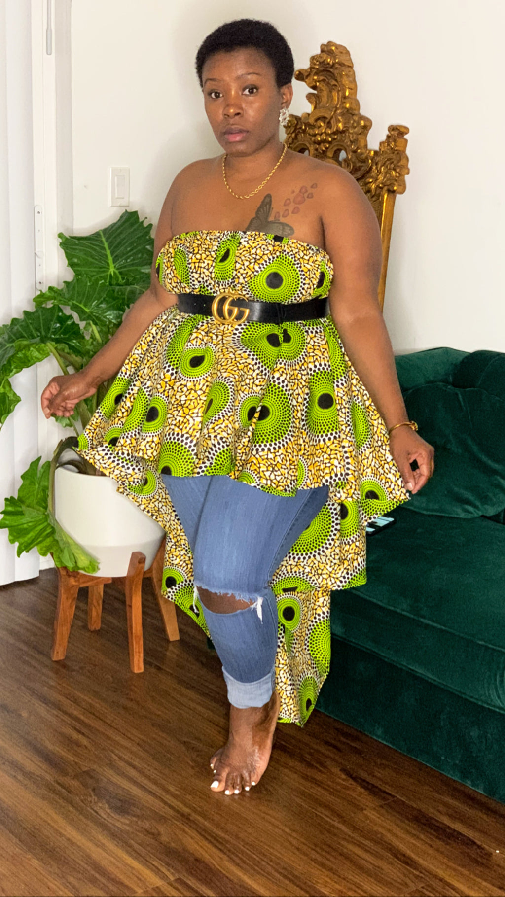 Dream African Print Blouse Lime