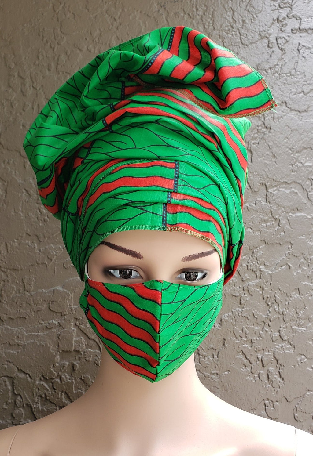 Fashion African Print Mask and Full Headwrap Green