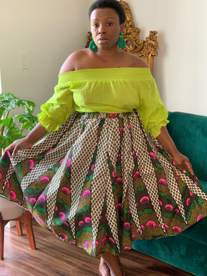 Brown Green Pink Midi Length Skirt